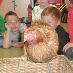Die Henne Berta zu Besuch in der Klasse.