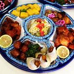 鰆の西京味噌漬け焼き、ぶり照焼(37年自家製焼きタレ使用)、大きな鳥の空揚、梅貝煮(殻付)、肉団子など