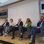 MEP Dr. Monika Vana mit Harald Vilimsky (re. FPÖ, ID), Paul Schmidt (ÖGFE), Claudia Gamon (NEOS, Renew Europe), Günther Sidl (SPÖ, S&D) und Georg Pfeiffer Georg Pfeifer Leiter des Verbindungsbüros zum Europäischen Parlament