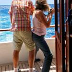 ich (Marion) versuche, die Fregatt-Vögel mit der Kamara einzufangen, der Wind bläst kräftig