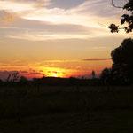 Wir genießen den Sonnenuntergang.