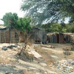 die Häuser werden mit Brettern oder Zäunen geschützt