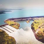 übersicht des Staudamms (abfotografiert)