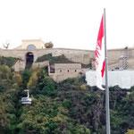 Die Gondeln zur Festung Ehrenbreitstein stehen leider still