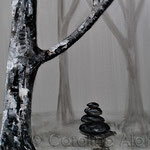 Wegmarkierung (2014), acrylic on canvas, 40 x 80 cm