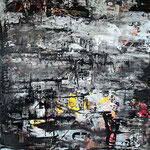 "The end of the painter | 2013 | Hommage to Gerhard Richter | Mixed media on canvas | 100x80cm | 39.4""x31.5"""