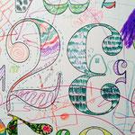 壁に描いたトリ
