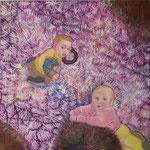 auf der lila Spielwiese  <7Tempera auf Leinwand  1m x 1m  2008