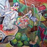 """schwäbische Berg-Kanninchen und chinesische Wanderarbeiter beim """"Schaffa"""" zur Säison im Ländle  /100 cm x 80 cm/ Oster-Ei-Tempera / 2014"""