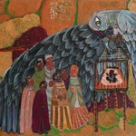 Wüstenvogel mit Nachwuchs empfängt Wüstenbewohner/ 100 cm x 80 cm /Eitempera / 2013