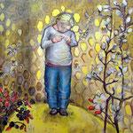 Bienenkönigin /Tempera auf Leinwand 1m x 1m  2013