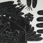 """s/w - """"das schwarze Haus""""  Eitempera auf Leinwand / 60 x 70 cm / 2017"""