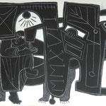 s/w - Mr. Hawkings und Dr. VII ,  Eitempera auf Leinwand / 100 x 80 cm / 2017