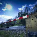 Bahnschranke, Aufnahme mit Aufhellblitz