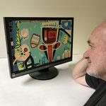 Giuseppe Buzzi betrachtet einen Paintcreen.