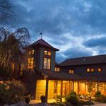 Night photo of Main Lodge entrance