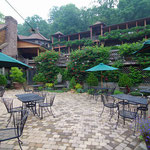 The patio is packed in the summers for lunch and outdoor events