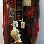 Hamlet and the mother, materiali vari, cm 250x150x170, 2003