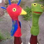 """Fingerpuppen """"Papagei und Frosch"""""""
