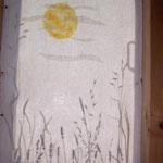 """Sichtschutz """"Mondlicht"""" mit eingefilztem Gras"""