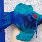 großer blauer Fisch, ca. 25cm lang