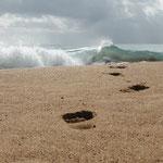 Fussspuren am Saga Beach