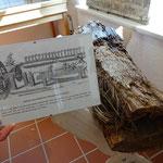 Stück eines Holzrohres zur Speisung der Röhrbrunnen