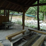 バーベキュー施設と炊事場