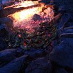 Das Lagerfeuer mit Schokobananen