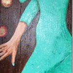 La fille aux pommes d'or ( 160 x 40 cm) acrylique sur toile