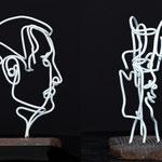 Pro-fil sculpture en fil de fer et bois (crédit photo Michel Bratyna)