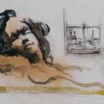 Ausschau, 2013, 39,5x27cm, Tusche/Bütten, A11                   ©Raimund Egbert-Giesen
