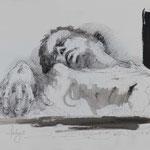 Ablage, 2018, 52x38cm, Tusche/Bütten, A3                   ©Raimund Egbert-Giesen