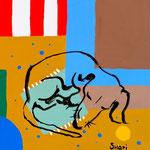 """Nooning"", живописная картина 30 х 30, темпера, холст, 2016 г. (под заказ)"