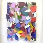 o.T., 2011, Mischtechnik, farbiges Scherbenbild, der verglaste Holzkasten ist integraler Bestandteil des Reliefs, 154x134,5cm