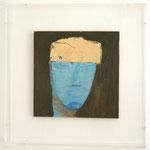 """Marisa Merz """"o.T."""",  Mischtechnik auf Holz, 24 x 24 cm, gerahmt in Plexikasten: 36 x 36 x 8 cm, Unikat"""