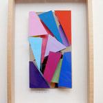 """""""o.T."""", 2007, farbiges Scherbenbild, in Holzkasten, hinter Glas 31,2x21,2x4cm"""