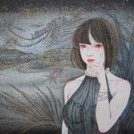 「天に咲く華と星の川」2013年・F6・紙本着彩