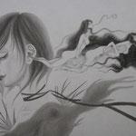 「女性画」-The woman- Year,2012 / 455×380㎜,P8 雲肌麻紙・墨
