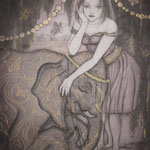「サーカス団の娘」2012年・F3号・雲肌麻紙・墨