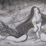 「業火」-The flame of a sin - Year,2012 / 1455×894㎜,M80  雲肌麻紙・墨・金粉