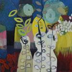 Trio fleuri toile 60x60cm