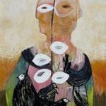 La femme fleurie toile 90x60cm vendue