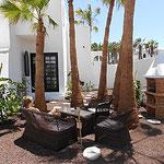Palmen im Garten und Eingang Schlafzimmer