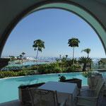 Blick vom Restaurant zum Meer