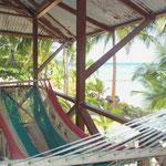 Vue de notre dortoir sur l'île de Bocas Del Toro