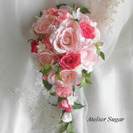 商品番号:119 ピンクのバラのキャスケードブーケ