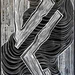 lasst Bäume tanzen / Linolschnitt & -stich / 164 cm x 68 cm / 2003