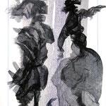 Fetzenbild 18 / Druckgaze und Material / 32 cm x 47 cm / 2007