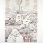 Radfahrer  / Farbstiftzeichnung / 76 cm x 57 cm / 1983